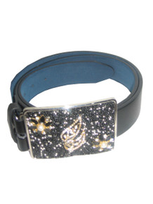 Beaded Impressions Black Leather Belt w/ Leaf Jewels Rhinestone Beaded Silver Buckle