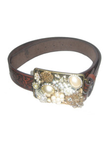 Beaded Impressions Brown Black Decorative Leaf Inlay Leather Belt w/ Multi Embellished Jewels Rhinestone Beaded Buckle