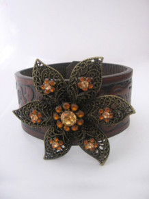 Beaded Impressions Brown Black Decorative Leaf Inlay Leather Cuff w/ Jeweled Flower