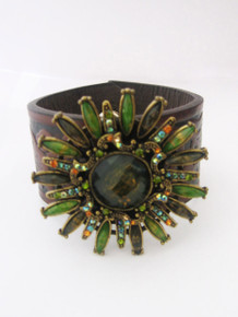 Beaded Impressions Brown Black Decorative Leaf Inlay Leather Cuff w/ Green Multicolor Jeweled Flower