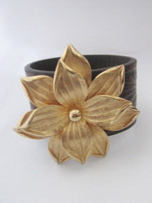 Beaded Impressions Brown Black Decorative Leaf Inlay Leather Cuff w/ Gold Flower