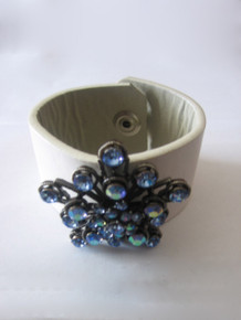 Beaded Impressions White Silver Blue Stones Leather Cuff