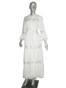 Vintage David Brown Brownstone Studio White Lace Panel Ruffle Tier Bell Sleeve Boho Wedding Festival Dress