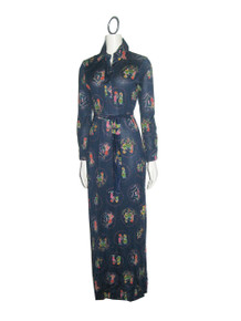 Vintage Roncelli Blue Multi-Color Printed Jersey Knit  Mod Long Shirt Dress w/ Belt