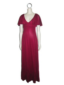 Vintage Wine V-Neck Overlay Flounce Sleeveless Empire Waist Long Flare Maxi Disco Mod Dress