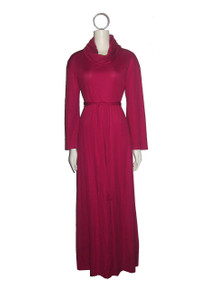 Vintage Jody T Of California Wine Cowl Neck Bell Sleeve Long Flared Disco Mod Maxi Dress w/ Belt