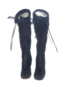 Vintage Rare Made In Italy Blue Laced Up Chunky High Heel Twiggy Granny Mod Suede Genuine Leather Fold Over Tall Boots