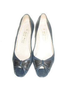 Vintage Bruno Magli Made In Italy Teal Blue Black Peep Toe Bow High Heel  Leather Pumps Shoes