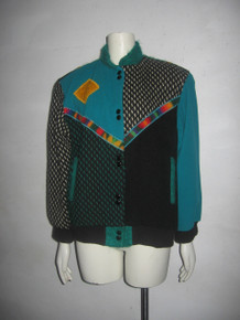 Vintage COLORATURA Multi-Color Wool Mohair Applique Color Block Bomber Jacket