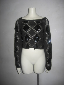 Vintage  P.S.E. Black Diamond Pointelle Beaded Sequins Fringe Cropped Pullover Sweater