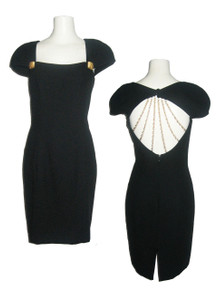 Vintage A J Bari Little Black Dress w/ Stranded Chains