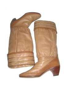 Vintage Pollini Tan Two Tone Metallic Trim Fold Over Pleated Shirred Hippie Boho Disco Leather Slouchy Boots