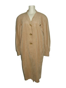 Vintage Ernst Strauss Beige Gold Decorative Buttons Ultra Suede Multifunctional Jacket Coat Cover-Up Dress