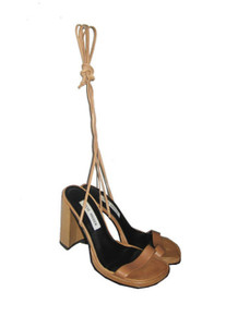 Vintage Steve Madden Alisa Beige Peep Toe Tie Up Strappy Chunky High Heels Leather Sandals Shoes