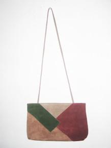 Vintage Beige Multi-Color Color Block Patchwork Boho Suede Shoulder Strap Handbag