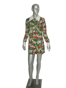 Vintage House Of She LTD Multi-Color Floral Print Smock Bid Ric Rac Trim Buttoned Placket Long Sleeve Buttoned Cuff Short Mini Mod Dress