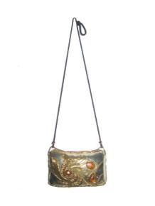 Vintage Rare Carvalhu? Silver Gold Stones Metal Handbag