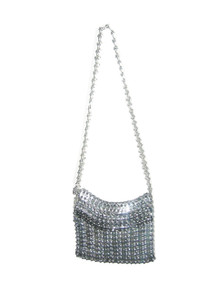 Vintage Paco Rabanne Inspired Silver Circular Cut Out Metal Mesh Disk Chain Links Flap Zipper Closure Fabric Lined Mod Space Age Handbag