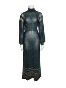 Vintage Wenjilli Multicolor Metallic Lurex Mix Stitch Turtleneck Long Sweater Knit Dress