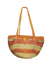 Vintage Hippie Boho Large Woven Straw Multicolor Brown Tote Engrave Leather Flap Closure Handbag w/ Double Leather Handle Straps