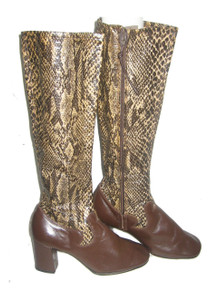 Capezios by Capezio Faux Snake Skin Brown Leather Zippered High Heel Mod Vintage Boots