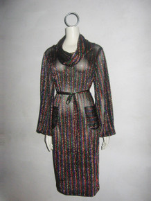 POYZA Multi Metallic Vertical Horizontal Stripe Pockets Cowl Neck Dress W/ Belt