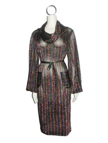 Sale POYZA Multi Metallic Vertical Horizontal Stripe Pockets Cowl Neck Dress W/ Belt