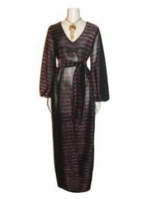 POYZA Multi Metallic Horizontal Stripe V-Neck Long Dress W/ Belt