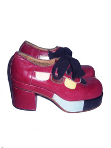 Vintage Harbor By Ferradini Made In Italy Red Multi-color All Leather High Platform Chunky Big Heel Unisex Disco Mod Laced Oxford Shoes