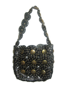 Vintage Rare Paco Rabanne Inspired Black Gold Leather Metal Eyelet Boho Handbag