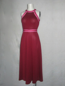 Vintage Burgundy Pink Striped Solid Color Block Rib Jersey Iconic Halter Mod Disco Dress