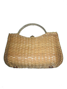 Vintage An Original Sarne Made In Hong Kong Large Woven Straw Basket Wicker Double Metal Rope Handle Clasp Closure Leather Trim Handbag