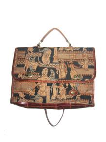 Vintage Arazzo Brown Multi Made In Italy Tapestry Embossed Leather Multifunctional Flap Closure Large Multifunctional Tote Messenger Handbag