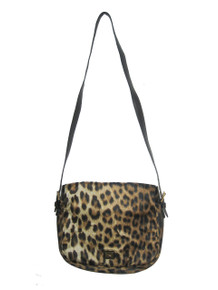 Vintage Authentic Moschino Redwall Animal Print Fabric Leather Flap Closure Cross Body Adjustable Shoulder Strap Handbag