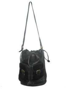 Vintage Designer Palomo Picasso Black Gold Drawstring Adjustable Strap Duffle  Bucket Cross Body Leather Handbag