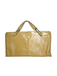 Vintage Rare Bold Statement Beige Gold Double Handle Zippered Long & Large Clutch Envelope Leather Handbag