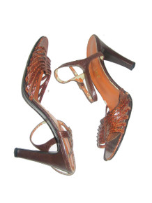 Vintage I Miller Brown Snake Skin Genuine Leather Upper Strappy Caged High Heel Stiletto Pumps Sandals Shoes