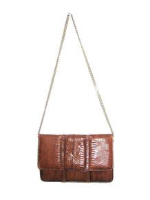 Vintage I Miller Brown Snake Skin Gold Chain Strap Flap Envelope Handbag