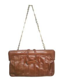 Vintage Bellido Rare Cognac Tan Brown Gold Pleated  Large Envelope Leather Handbag