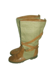 Vintage Banana Republic Safari & Travel Clothing Co. Boots Mid Calf Green Linen Brown Leather Strap and Buckle Tie Up Bondage Boho Boot