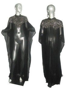 Vintage Made In India Rare Black See Thru Sheer Jewels Beads Embellish Stand Up Collar Ethnic Boho Multifunctional Full Sleeve Long Caftan Dress
