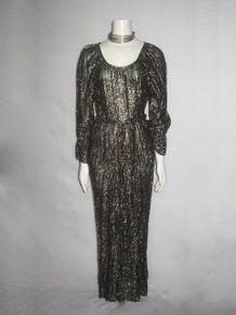 Vintage Stunning Metallic Gold Lurex Lame Black Sheer Drop Waist Disco Grecian Disco Boho Long Dress w/ Knotted Belt