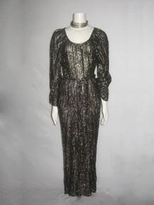 Vintage Stunning Metallic Gold Lurex Lame Black Sheer Drop Waist Disco Grecian Disco Boho Long Dress w/ Knotted Belt