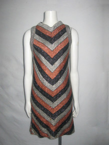 VTG Rare RK Original Silver Copper Bronze Black Metallic Lurex Lame Mitered Chevron Stripe Vneck Sleeveless GoGo Mod Twiggy Short Mini Dress