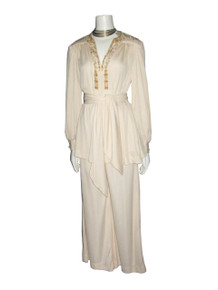 Vintage  Dorian By Leo Narducci Beige Gold Metallic Trim Embellished Fringe Tunic Blouse Wide Leg Pants Outfit Ensemble w/ Sash Belt