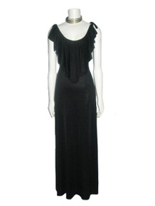 Vintage Climax By David Howard Black Strappy Tie Shoulder Halter Ruffle Flounce Overlay Long Flared Grecian Disco Dress