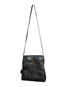Vintage LionHart Black Gold Ostrich Embossed Leather Belted Latch Lock Key Closure Shoulder Strap Cross Body Kelly Handbag