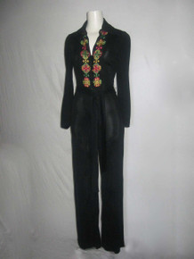 Vintage Young Edwardian By Arpeja Black Multicolor Floral Embroidered Disco Mod Belted Jumpsuit