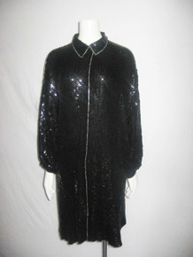 VTG Raiment Black Silk Sequins Silver Beads Embellished Gathered Slouchy Sleeve Trophy Multifunctional Hi Low Curved Hem Tunic Jacket Dress