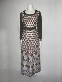 Vintage Romantica By Victor Costa Circles Polka Dot Window Pane Geometric Border Print Long Dress